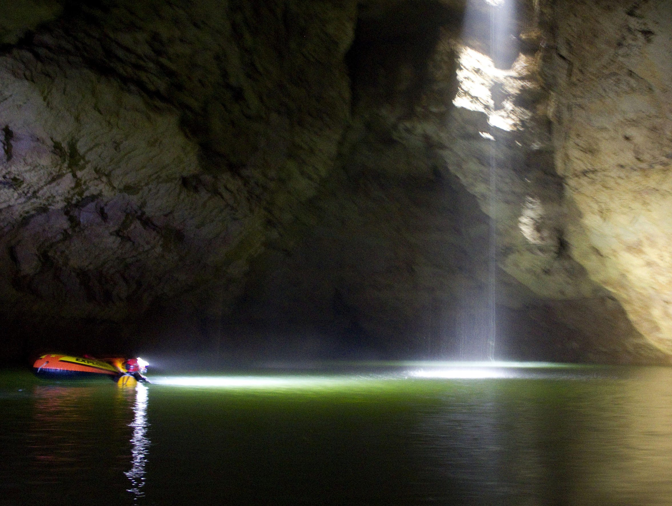 A small waterfall showered the cave explorers while