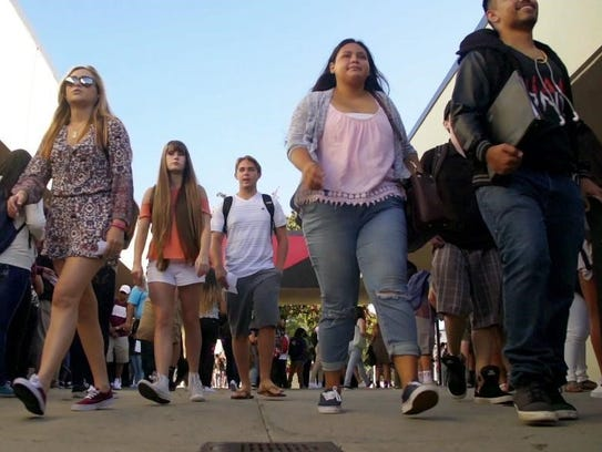 Students head to class at Vista High School.