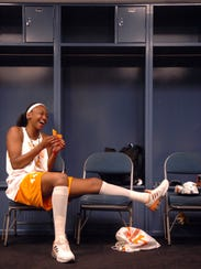 Tennessee's Alex Fuller (44) shares a laugh with her