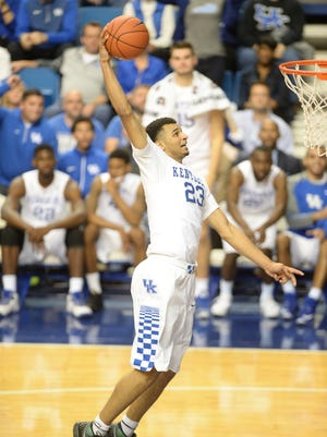 UK's Jamal Murray goes up for a dunk during the University of Kentucky basketball game against Albany at Rupp Arena in Lexington, Ky., on Friday, November 13, 2015.