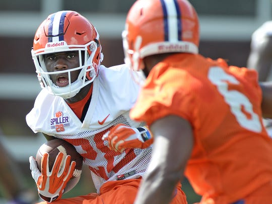 Clemson running back Tavien Feaster (28) during practice during fall camp.