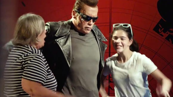Arnold Schwarzenegger donned his Terminator makeup and costume and roamed the streets of Hollywood.