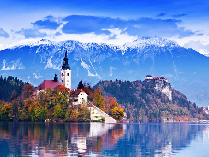 Perched on an island in the middle of Bled Lake                                                          in Slovenia,                                                          th