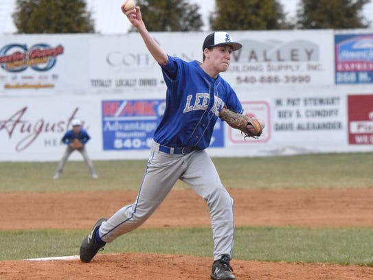 Robert E. Lee's Kaden Swisher delivers a pitch to an