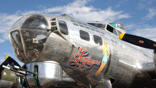 """The nose art on WWII-era Boeing B-17 """"Sentimental Journey"""" at the Commemorative Air Force Arizona Wing Museum in Mesa."""