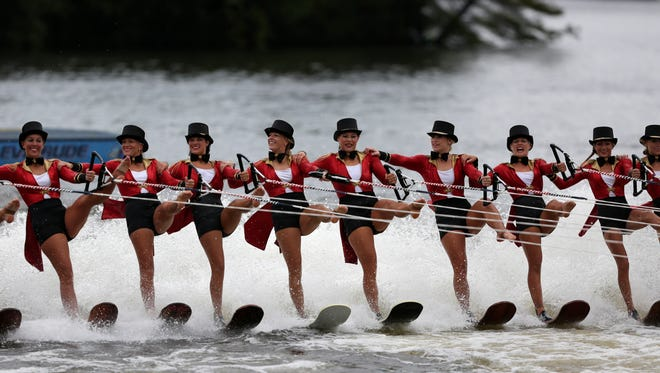 The U.S.A. team performs during the World Water Skiing Show in Wisconsin Rapids, Wisconsin, September 10, 2016.