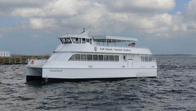 The Pelican Perch, one of two ferry boats, made a stop in Pensacola Saturday, April 22, 2017, the two ferry boats will provide passenger ferry service between downtown Pensacola, Pensacola Beach, and Fort Pickens in May of 2018.