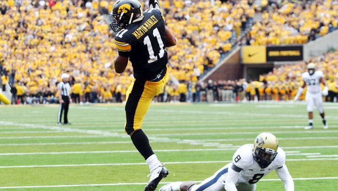 Kevonte Martin-Manley caught two touchdown passes the last time Iowa and Pitt met.