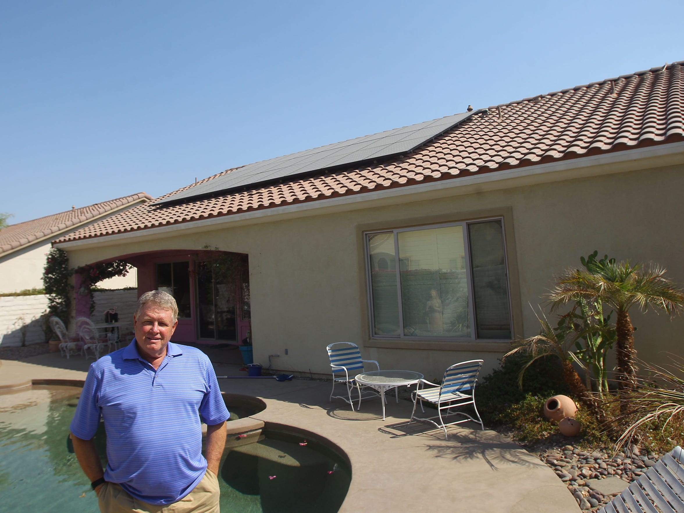 Bob Turley had solar panels installed at his Indio home in January 2016. The panels sat unused for months, not generating electricity, because of the Imperial Irrigation District's decision to close net metering to new applicants.