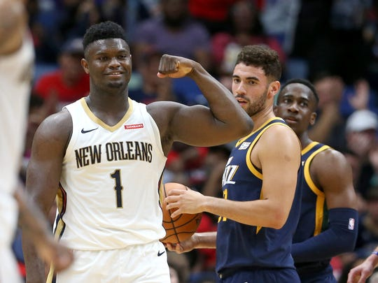 Oct 11, 2019; New Orleans, LA, USA; New Orleans Pelicans forward Zion Williamson (1) gestures after making a basket in the second half against the Utah Jazz at the Smoothie King Center.  Mandatory Credit: Chuck Cook-USA TODAY Sports