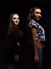 """Victoria Cox as Campbell and Kyra Bryant as Danielle rehearse a scene for Buena Regional High School Drama Club's production of """"Bring It On the Musical."""""""