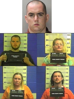 Benjamin Dwayne Yelton (top), Jacob Darren Largent (middle left), Denise Elaine Crone (middle right), Diana Lynn Williams (bottom left) and Joseph Guy Paul (bottom right) were all charged with involuntary manslaughter and drug-related charges after a West Manheim Township woman overdosed. Largent is still at-large.