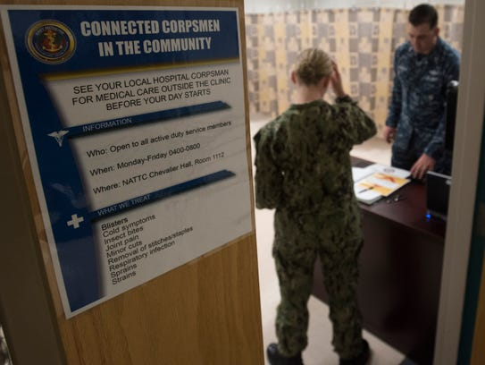 The Connected Corpsman in the Community program at Naval Air Technical Training Center on board Pensacola Naval Air Station gives active duty service members access to medical before the training day begins.