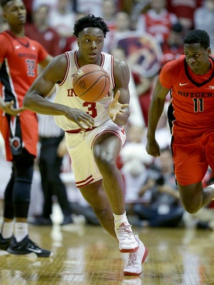 Former Indiana Hoosiers forward OG Anunoby (3, against Rutgers) was selected 23rd in Thursday draft by the Toronto Raptors.