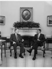 President Barack Obama invited Gov. Jim Douglas to discuss a plan to stimulate the national economy that Congress was considering. The photo is included in Douglas' just-released political memoir.