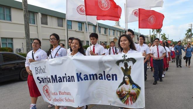 Thousands gather for the annual Santa Marian Kamalen procession in Hagåtña on Dec. 8, 2015.