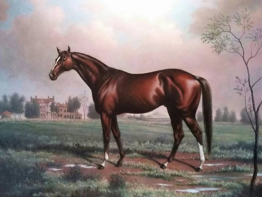 Cass Holly painted famous racehorse Saint Blaise, who lived on Fairvue Plantation and has a road named after him in Gallatin.