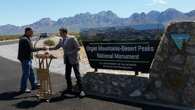 State Rep. Nathan Small, D-Las Cruces, also a coordinator for the New Mexico Wilderness Alliance, is shown during a press conference near the Organ Mountains-Desert Peaks National Monument east of Las Cruces.