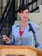 Oregon Department of Corrections Director Colette Peters speaks at a ceremony commemorating the 150th anniversary of the main Salem prison on May 12, 2016.