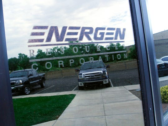 The Energen Resource Corp. sign is still visible on LOGOS Resources' new office, seen here on Tuesday in Farmington.