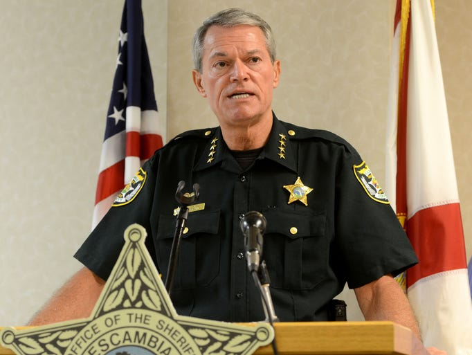 Escambia County Sheriff David Morgan holds a press conference Monday to announce 69 arrests as a result of a recent warrant sweep called Operation Summer Heat.