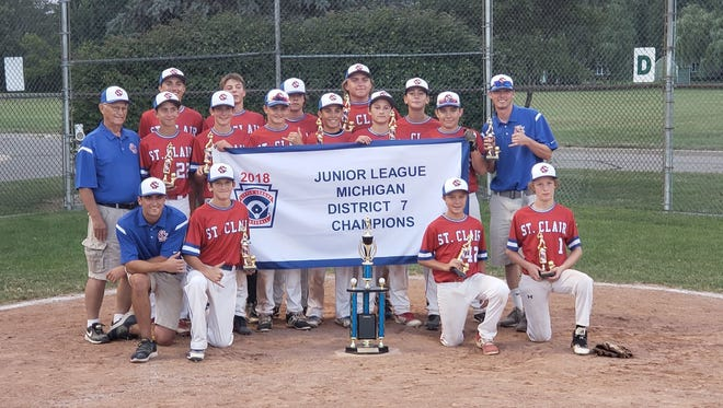 The St. Clair 14-and-under junior little league team won a district championship Thursday night in Richmond.