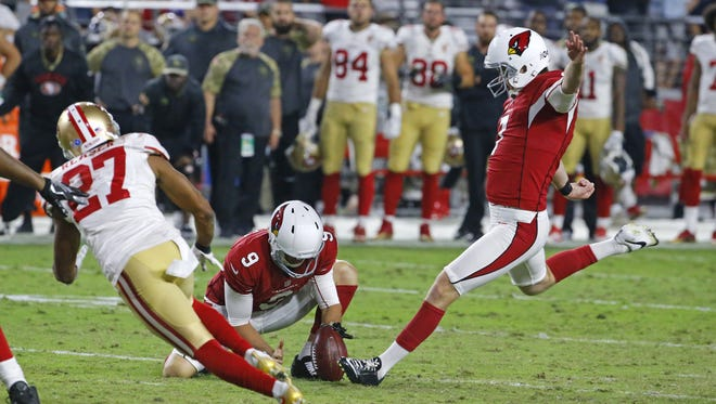 Cardinals kicker Chandler Catanzaro (7) kicks the winning field goal at the end of regulation against the 49ers in  their NFL game Sunday, Nov. 13, 2016 in Glendale, Ariz.