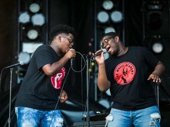 """October 6, 2017 - Stax Academy Band artists Trevor Keys, left, and Jonathan Lee perform """"Soul Man"""" with their group during the first day of MEMPHO at Shelby Farms Park on Friday."""
