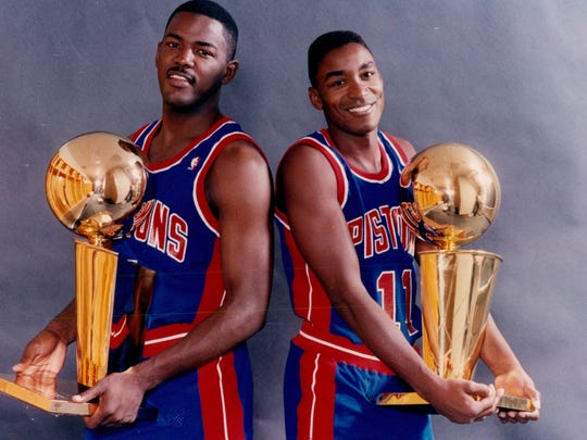 Joe Dumars, left, and Isiah Thomas were both first-round picks before leading the Pistons to back-to-back NBA titles in 1989-90.