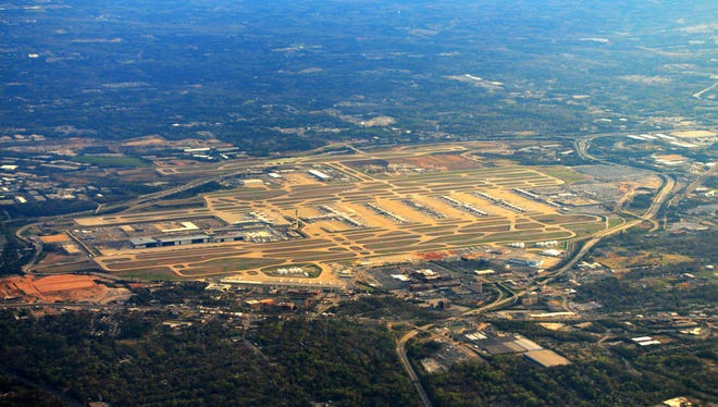 You can see all the runways of Hartsfield-Jackson Atlanta International Airport, even Interstate 85 and Interstate 285 around the airport.