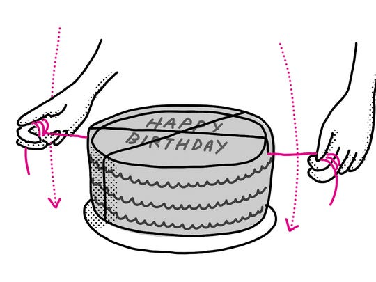 Save time and mess by cutting cake with dental floss.