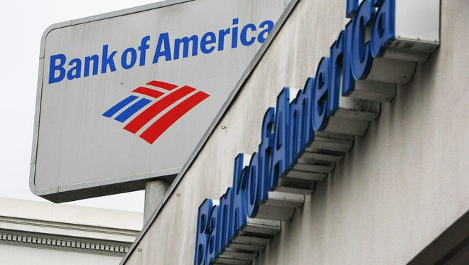 The Bank of America logo is displayed on the side of a branch office  in San Francisco.