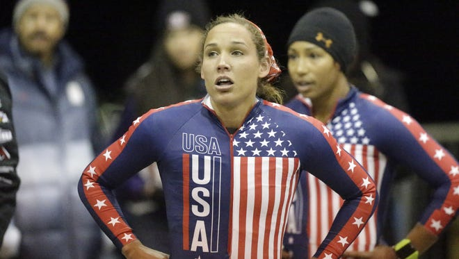American bobsled team Lolo Jones and  Jazmine Fenlator, right, earned a spot on the World Cup team.