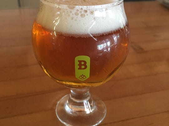"A sample glass of Beaver Island Brewery's ""Tribute"" session IPA."