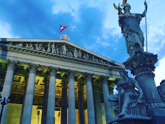 The Austrian Parliament building in Vienna.