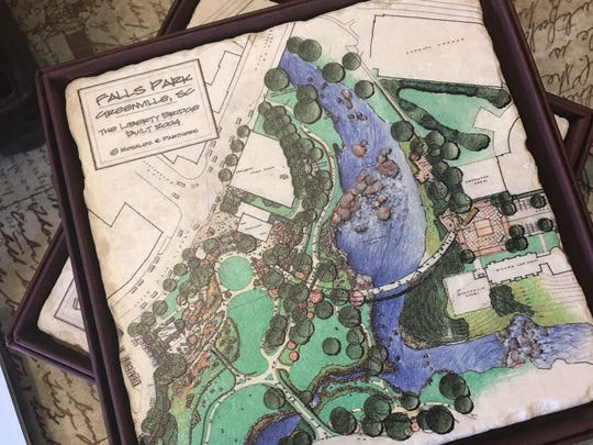 Samantha Grace Designs has a selection of items bearing the original designs for Falls Park, including coasters for $16.95. There's also magnets, ornaments, clocks and serving trays for various prices.