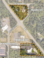 A diagram of the two sites the city of Bainbridge island