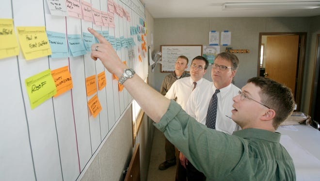 A group in 2007 discusses the timetable for a Castleton Square mall project led by Messer Construction.