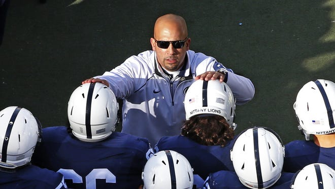 Coach James Franklin, top center, is trying to bolster his Nittany Lions with a strong recruiting finish to his 2016 class this week. Obstacles? Holding off Pitt and Big Ten adversaries like Michigan and Michigan State.