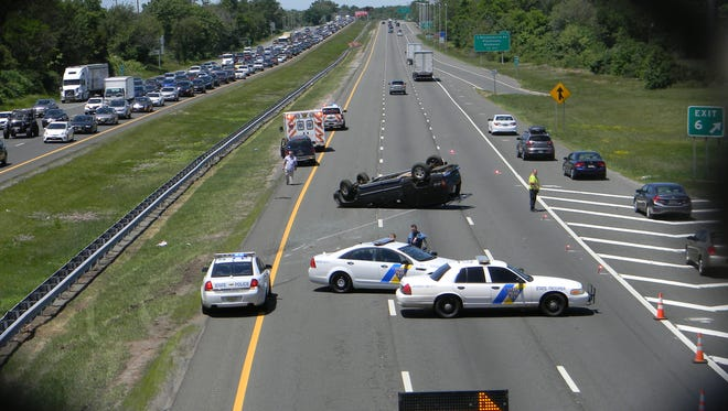 An overturned car closed a portion of Route 287 in Piscataway on Sunday afternoon.