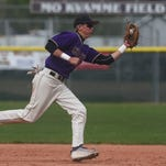 Fort Collins High School baseball player Jacob Moyer fields a ball Monday, May 4, 2015, at Windsor High School in Windsor, CO.