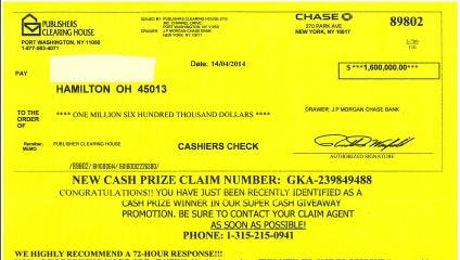 Police are warning of an aggressive scam that sends this letter to people claiming they won more than $1.5 million.