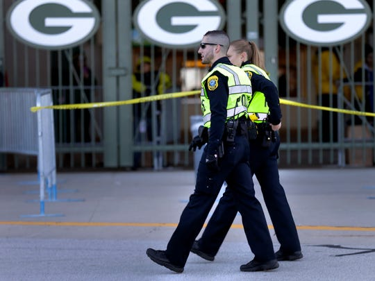 A heightened police presence at Lambeau Field  for Sunday Packers' game in response to the terrorist tracks in ParisThe Green Bay Packers host the Detroit Lions at Lambeau Field on Sunday, November 15, 2015, in Green Bay. Wis. Wm.Glasheen/P-C Media
