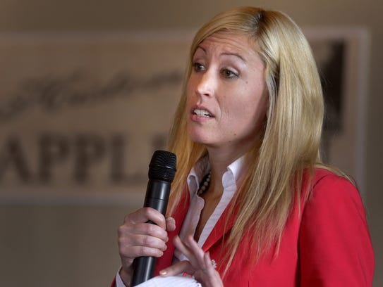 State Rep. Amanda Stuck speaks during the Appleton