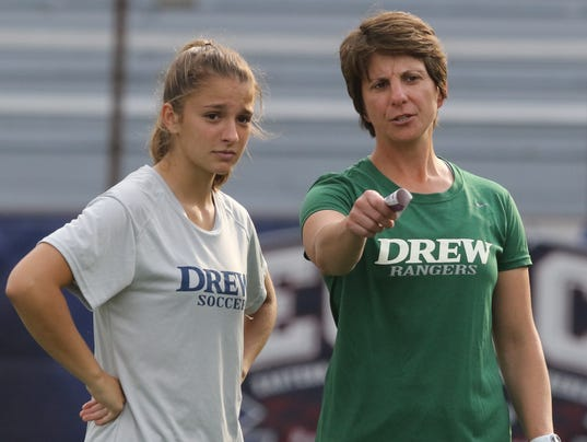 Sarah Racine plays soccer for Drew University and her mother Christa Racine, is her soccer coach. Her father, Steve Racine was her coach at Kinnelon High School. Here, Sarah and Christa at a recent practice.