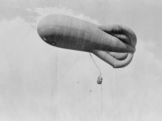 An observation balloon, like the one used by 1st Lt. James A. McDevitt in World War I, was used to keep track of enemy troop movements.