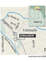 The scene of the Falmouth derailment