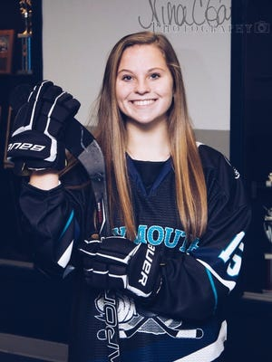 After four years with the combined Plymouth high school girls hockey team Plymouth South senior Sara Duffley hopes to play club hockey at Roger Williams University.