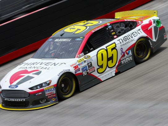 Michael McDowell practices at Bristol Motor Speedway