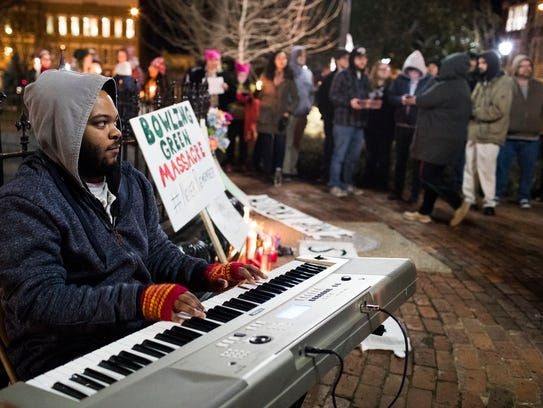 Jerone Williams plays piano during a Bowling Green
